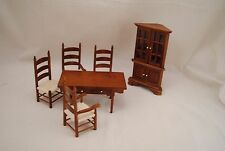Kitchen / Dining Room Set - walnut - T6039 dollhouse miniature 6pc 1/12 scale