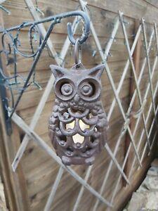 Garden Lantern Owl Tealight Holder Cast Iron Country Style Decoration New