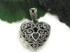 Heart Locket 925 Silver Pendants Ladies with Marcasite Zirconia Medallion