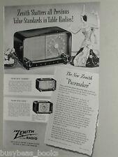 1948 Zenith Radio ad, Pacemaker Tournament Zephyr