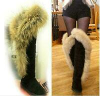 Luxury Fox Fur Womens Thigh High Over The Knee Boots Long Winter Warm Shoes Size