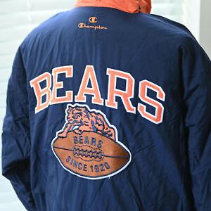 Vtg Champion Chicago Bears NFL Football Windbreaker Jacket XL Blue Orange
