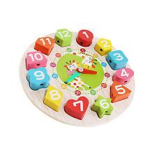 Lernuhr Kinder Spieluhr Holz Lernspielzeug Kinderuhr Uhrzeit lernen Holzuhr