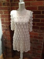 "Toki & Nabi Cream Dress Sheer with Lined Slip 3/4 Arms Size 8-10 L31"" AtoA 17"""