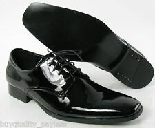 New CALVIN KLEIN Gareth Black Patent Oxford Dress SHOE Mens 7 EXPEDITED MAIL