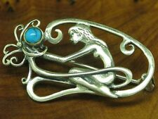 925 Sterling Silver Brooch with Turquoise Decorations / Women Motif / Real