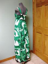 Dolce & Gabbana AUTH NWT Green Leaf Print Sq Neck Empire Waist Maxi Dress 40