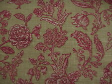 VERVAIN CURTAIN/UPHOLSTERY FABRIC  Mondeville 6.7 METRES CRANBERRY 100% Linen