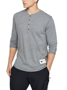 Under Armour - Mens Project Rock ¾ Sleeve Henley Gray - Size L