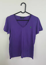 Da Donna Vintage Viola Ralph Lauren ATHLETIC SPORTS LOGO solo Top T-shirt in buonissima condizione 10-12