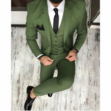 Army Green 3 Pieces Sim Fit Best Man Tuxedos Groomsman Men's Wedding Prom Suits+