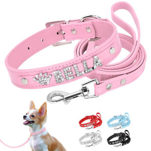 DIY Name Dog Collar Leather Personalized With Rhinestone Puppy Collar & Leash