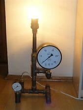 Steampunk Vintage Loft punk Industrial Pipe handmade Lamp w/ Guages & Light Bulb