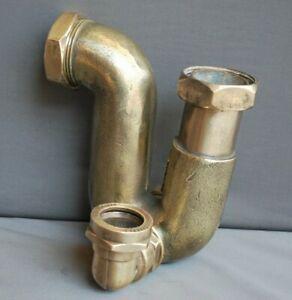 BRASS BATH P TRAP 1 1/2 INCH REFURBED ADJUSTBLE OVERFLOW SPIGOT BELFAST SINK