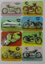 VINTAGE 1950's UNCUT SHEET OF 8 NEAR MINT GERMAN MOTORCYCLES Trading Cards