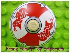 LEGO 4x4 Shield Minifig Armor Red White Serpent Print Viking 7018 7019 7020 EUC