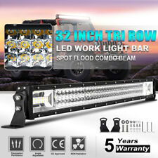 "8D Tri-row 32""inch 1080W LED Light Bar Offroad Spot Flood Work Driving PK 30""36"""