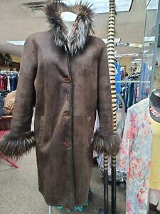 STEFANIA SARRE Brown Shearling Fur Collar Cuffs Coat  L