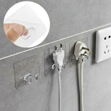 10pcs Transparent Wall Storage Anti-skid Hook Power Plug Socket Traceless Holder