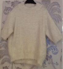 Women's White Fluffy Short Sleeve Crop Jumper In Size 8