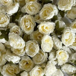 Artificial Silk Flower Heads - Ivory Peony Style 137 - 5 Pack