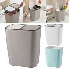 More details for 15l plastic double recycling bins touch top wastebin kitchen dustbin rubbish can