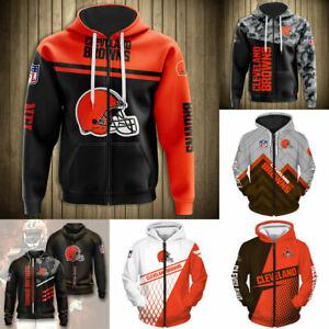 Cleveland Browns Hoodies Men's Casual Zipper Jacket Football Hooded Sweatshirt