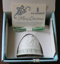 New Vintage Lladro 1988 Christmas Ornament Bisque Decorative Bell in Box, Santa