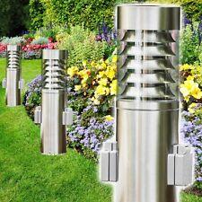 Sockelleuchte mit 2 Steckdosen Edelstahl Aussen Steh Leuchte Garten Wege Lampen
