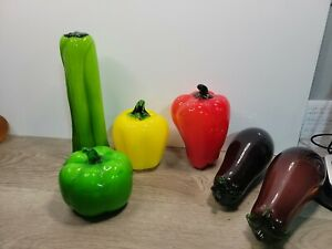 6 Pc Blown Glass Murano Vegetables, 3 Peppers, 2 Eggplant 1 Celery