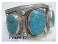 Superb Jewelry Beautiful Tibet Silver Large Turquoise Cuff Bracelet Bangle