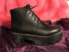 Chunky Platform Goth Faux Leather Black Lace Up Biker Boots size 7 / 40