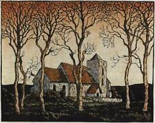 LAWRENCE BELL Signed Linocut CHURCH & TREES IN LANDSCAPE - 20TH CENTURY