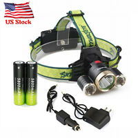 Headlamp 3x T6 LED Headlight Flashlight Lamp 18650 battery Charger USA 90000LM
