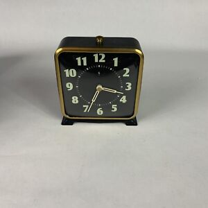 Pottery Barn Alarm Clock - Black w Golden Trim - Table Desk