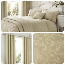 Serene Ebony Floral Leaf Jacquard Duvet Cover Set,Curtains,Cushions in Natural