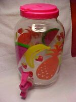 Tutti Frutti COLORFUL FRUITS Sun Tea Beverage Jar Gallon Glass Jug Drink Spigot