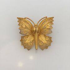 22k Yellow Gold Ornate Filigree Butterfly Brooch Pin