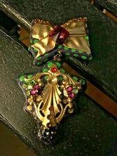Handmade/painted/signed Christmas Holiday two Part Pin Brooch Original ART NICE!