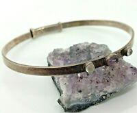 Vintage Sterling Silver 6mm Amethyst Adjustable Bangle Bracelet 13.7 Grams