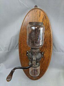 Vintage Arcade Crystal Coffee Grinder Wall Mount Hand Crank Mounted on Oak Board