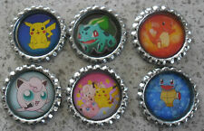 6 x Pokemon Characters Silver Flattened Bottle Caps