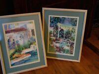 """Pair of Linda Lucas, Florida Original Watercolor Paintings, Image 10x15"""", Framed"""