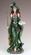 "Witch Sorceress With Broom & Black Cat Figurine Resin 10.5"" High New In Box!"