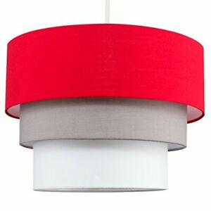 3 Tiered Ceiling Light Shade Red Grey White Fabric 20cm Height 30cm Diameter