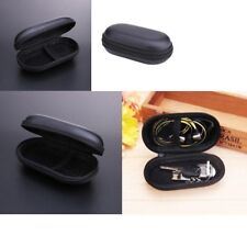 Hard Oval Earphone Case Headphone SD Card Storage Bag Box Carrying Pouch Black