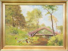 """Naturaliste-Carl O. J. LUND (1857-1936) """"Jour d'été dans le parc"""" 46 x 61 cm"""