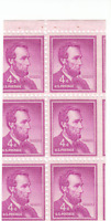Scott# 1036b - 4c Red  Violet - Lincoln - ERROR MISCUT-  booklet pane of 6 - MNH