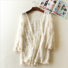 One Size Women Lace Embroidery Blouse Shirt Cardigan Manteau Femme Mori Girl