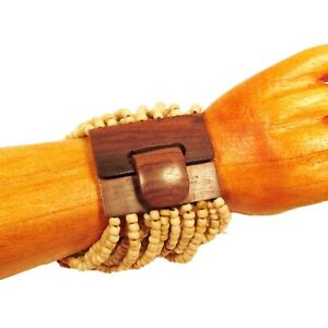 Natural Color Handmade Stretch Wood Buckle Seed Bead Cuff Statement Bracelet